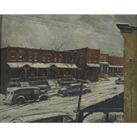 west philadelphia neighborhood in winter by louis b. sloan