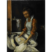 the artist's mother in the kitchen by louis b. sloan