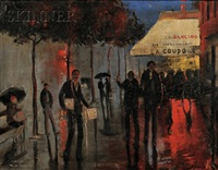 view of paris cafes, night by marguerite de corini