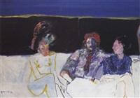 met drie op een bankstel (zelfportret) by godfried vervisch