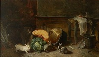 interior scene with rabbits by philippe rousseau