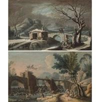 paesaggio invernale; paesaggio con boschi e cascata (pair) by anonymous (18)
