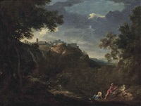 a view of tivoli with classical figures conversing on a shore by gaspard dughet