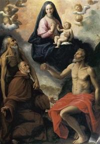 madonna con i santi onofrio, girolamo e un devoto by fabrizio santafede