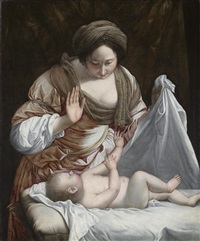 madonna mit kind (oder frau mit kind) by orazio gentileschi