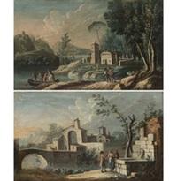veduta di paese con figure; paesaggio fluviale con ponte e figure (2 works) by anonymous (18)