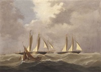 big cutters under reduced rig, crossing the line in a heavy swell by george frederick gregory
