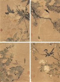 花鸟 (flowers and birds) (4 works) by deng tiexian