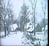 dorfstrasse in fischerhude, im schnee by hans buch