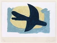 oiseau bleu et jaune by georges braque