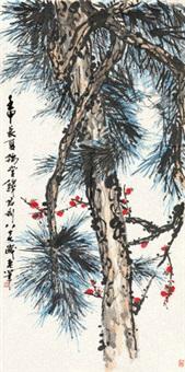 梅松双清 镜片 设色纸本 by qian juntao