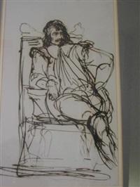 theatrical figure studies (set of 4 works) by benjamin robert haydon