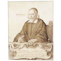 portrait of a seated old man, holding a carnation by willem (guilliam) de heer