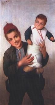 junge mit baby by cop agresti