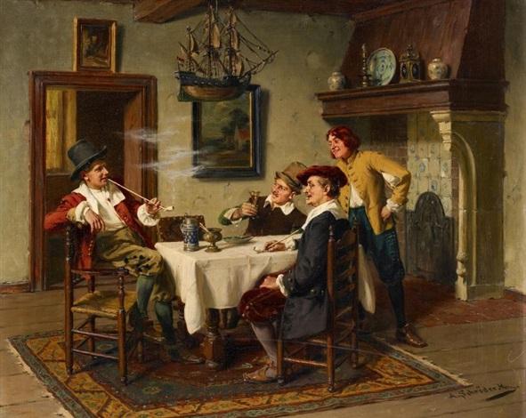 Pfeifenraucher im holländischen Interieur von Albert Friedrich ...