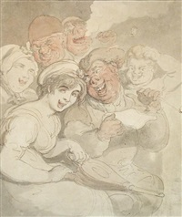 good news - revellers by a fireside by thomas rowlandson