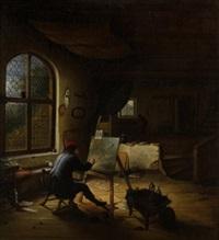 pintor en su estudio by gerrit dou