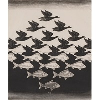 sky and water i by m. c. escher