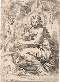 die heilige magdalena vor dem kruzifix by paolo farinati