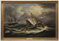 the van der dort and other dutch sailing vessels off great yarmouth in stormy weather by thomas luny