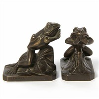 book supports in the shape of froggs (pair) by maurice frecourt