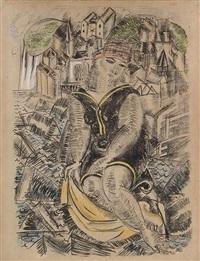 baigneuse devant un port (sainte-adresse) by raoul dufy