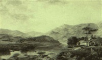 village near a river in a vast mountainous landscape by charles fisher