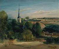 paysage avec une église by andré derain