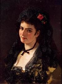 retrato de joven con mantilla by antonio cabral bejarano