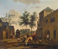blick auf köln mit den kirchen st. gereon und st. pantaleon by gerrit adriaensz berckheyde