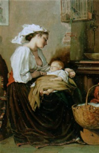 interieur mit sitzender mutter und ihrem kind by alfred gass