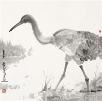 仙鹤 镜心 水墨纸本 (painted in 2006 red-crowned crane) by zhou jingxin
