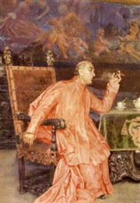a seated cardinal in an interior scene, smoking a cigar and drinking coffee by carlo chiostri