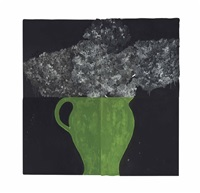 hydrangea in a green pot (in 4 parts) by donald sultan