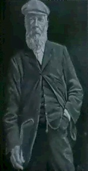 a portrait of tom morris, standing three-quarter length,  wearing a green jacket and holding a golf club by joseph austen