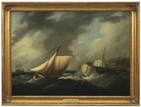 a cutter leaving dover harbour in heavy weather by thomas luny