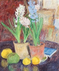 still life with hyacinths and fruits by sigurd swane