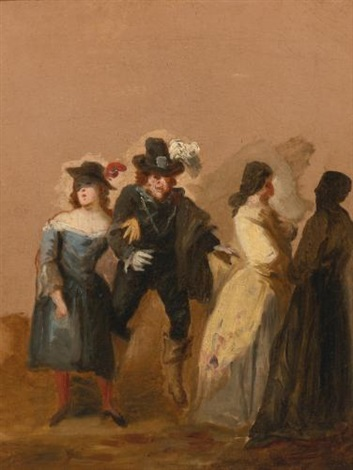 a carnival scene with masked figures by francisco de goya