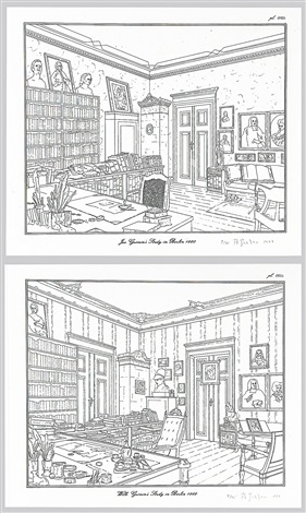 rodney graham drawings brüder grimm museum kassel and jacob grimms studio in berlin wilhelm grimms studio in berlin 6 works by rodney graham