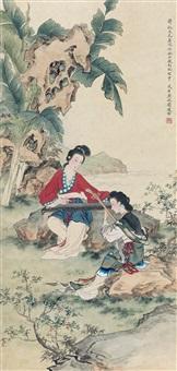 抚琴图 by liu lingcang