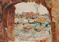 ruinen vor einem dorf by paul leuteritz