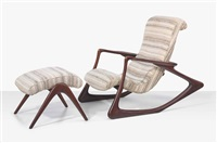 contour rocking chair with an ottoman by vladimir kagan