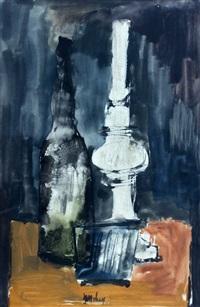 stilleven met fles en olielamp by jan van heel