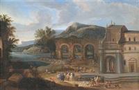 fischmarkt vor einer kirche und den überresten eines aquädukts an einem flusslauf by mathys schoevaerdts