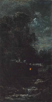 nachtlandschaft mit mühle am bach by carl spitzweg