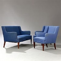 freestanding two seater sofa and a pair of matchind easy chairs (set of 3) by frits henningsen