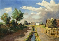 landscape with country road and village, summer by frederick wilhelm jacobsen