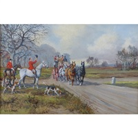 mail coach passing huntsmen and hounds at cross roads by wilfred bailey