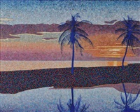 sunset with palm trees, florida by michael vinson clark