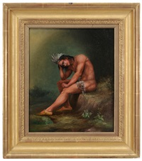 the dying chief: contemplating the progress of civilization (after thomas crawford (1813-1857)) by american school